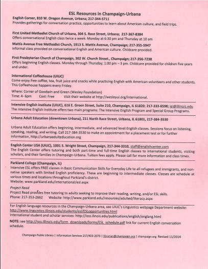 Community ESL – Urbana Adult Education Center